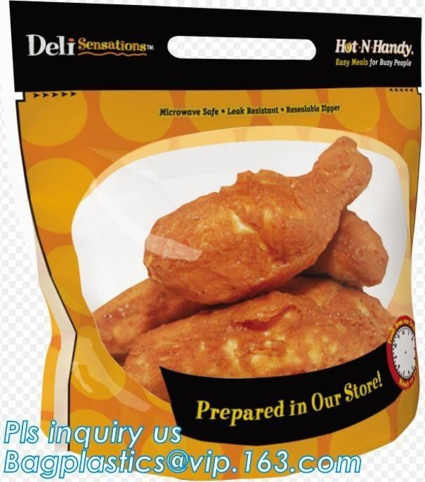 Fresh Chicken Packing Bag, standing up hot roast chicken bag with handle, chicken bag carry out fried chicken bag